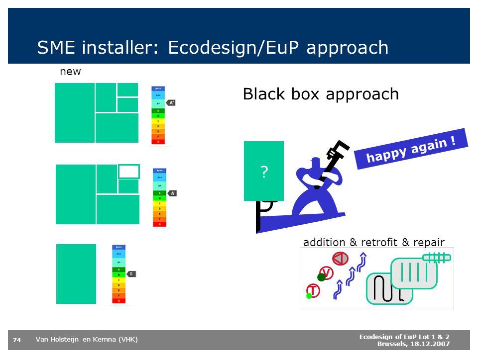 Van Holsteijn en Kemna (VHK) 74 Ecodesign of EuP Lot 1 & 2 Brussels, 18.12.2007 SME installer: Ecodesign/EuP approach .