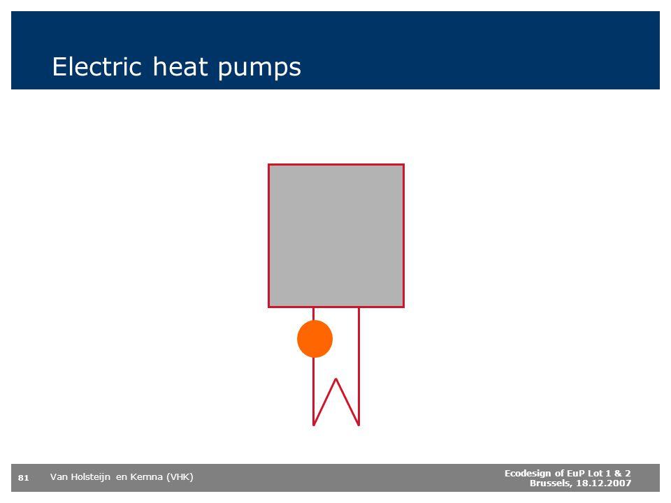 Van Holsteijn en Kemna (VHK) 81 Ecodesign of EuP Lot 1 & 2 Brussels, 18.12.2007 Electric heat pumps
