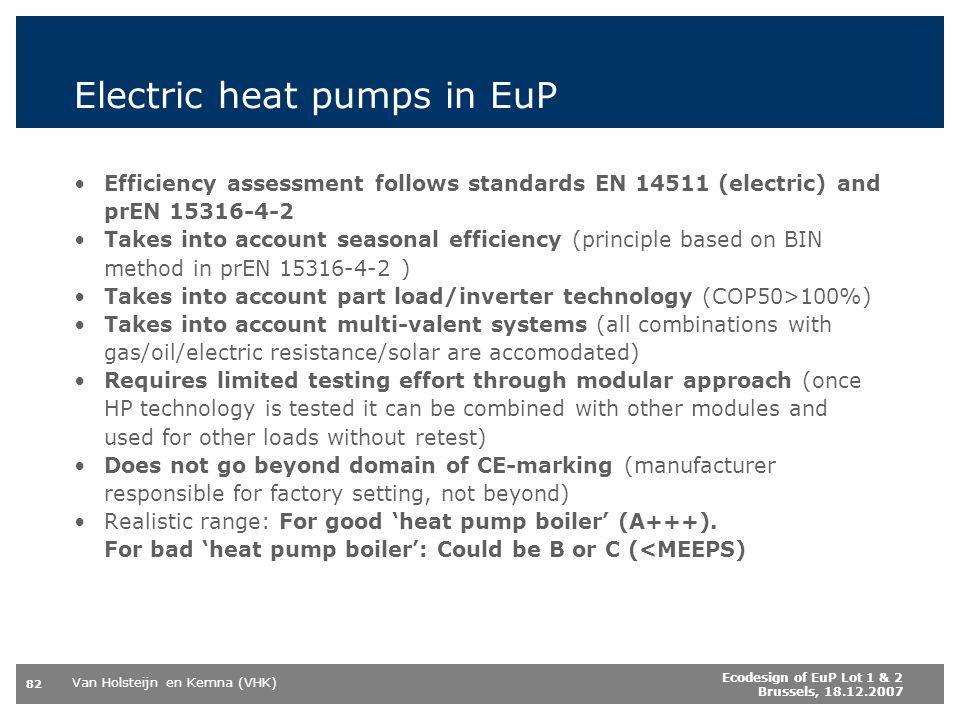 Van Holsteijn en Kemna (VHK) 82 Ecodesign of EuP Lot 1 & 2 Brussels, 18.12.2007 Electric heat pumps in EuP Efficiency assessment follows standards EN