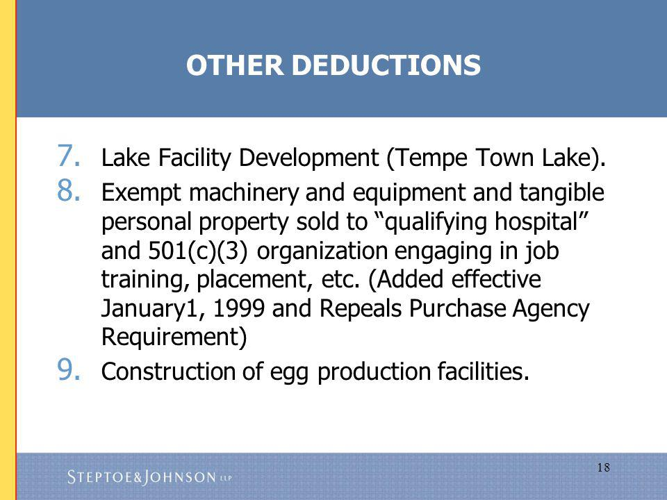 18 OTHER DEDUCTIONS 7. Lake Facility Development (Tempe Town Lake).