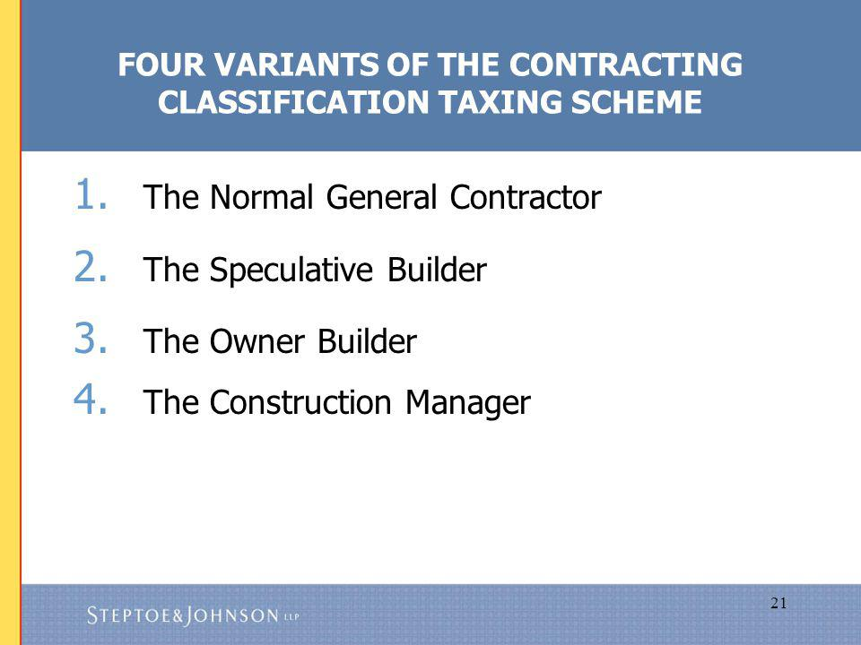 21 FOUR VARIANTS OF THE CONTRACTING CLASSIFICATION TAXING SCHEME 1.