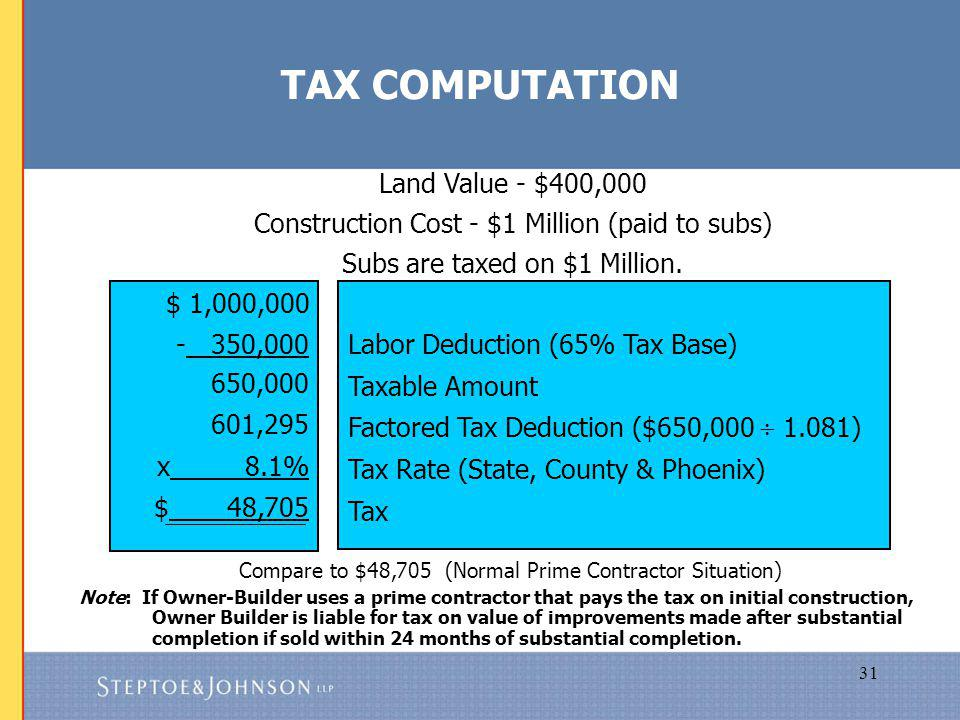 31 Land Value - $400,000 Construction Cost - $1 Million (paid to subs) Subs are taxed on $1 Million.