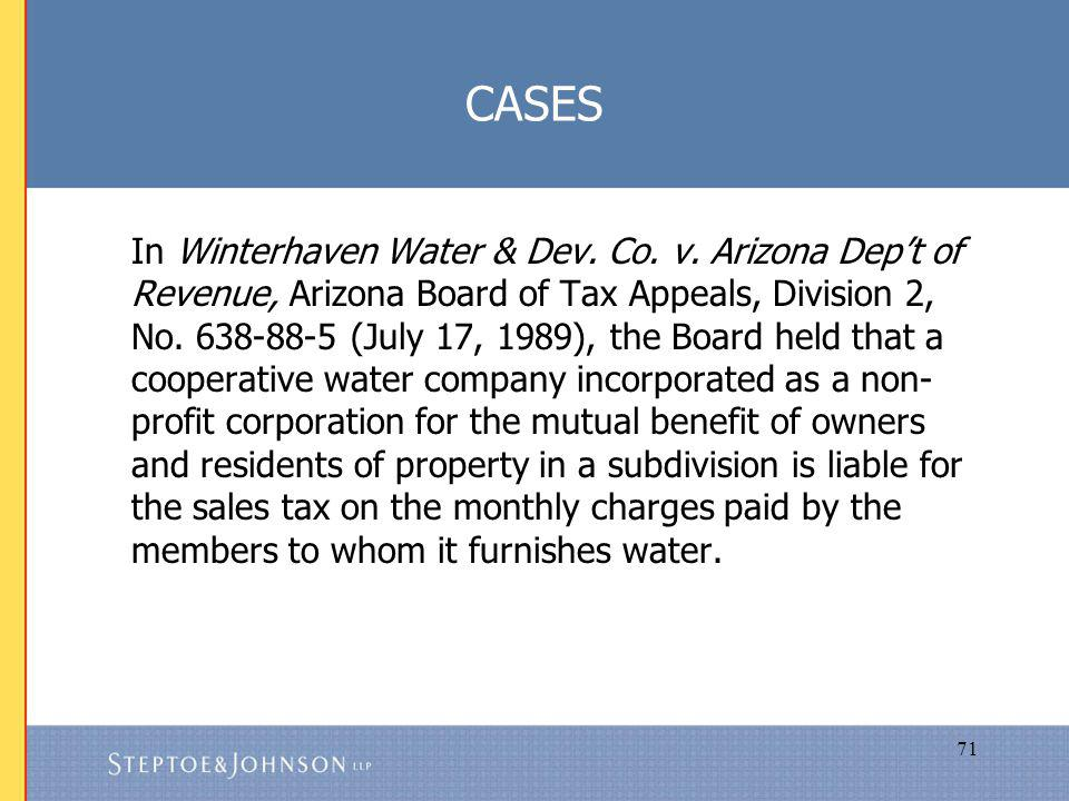 71 CASES In Winterhaven Water & Dev. Co. v.