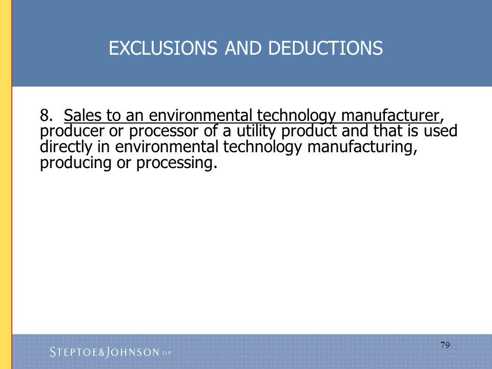 79 EXCLUSIONS AND DEDUCTIONS 8.