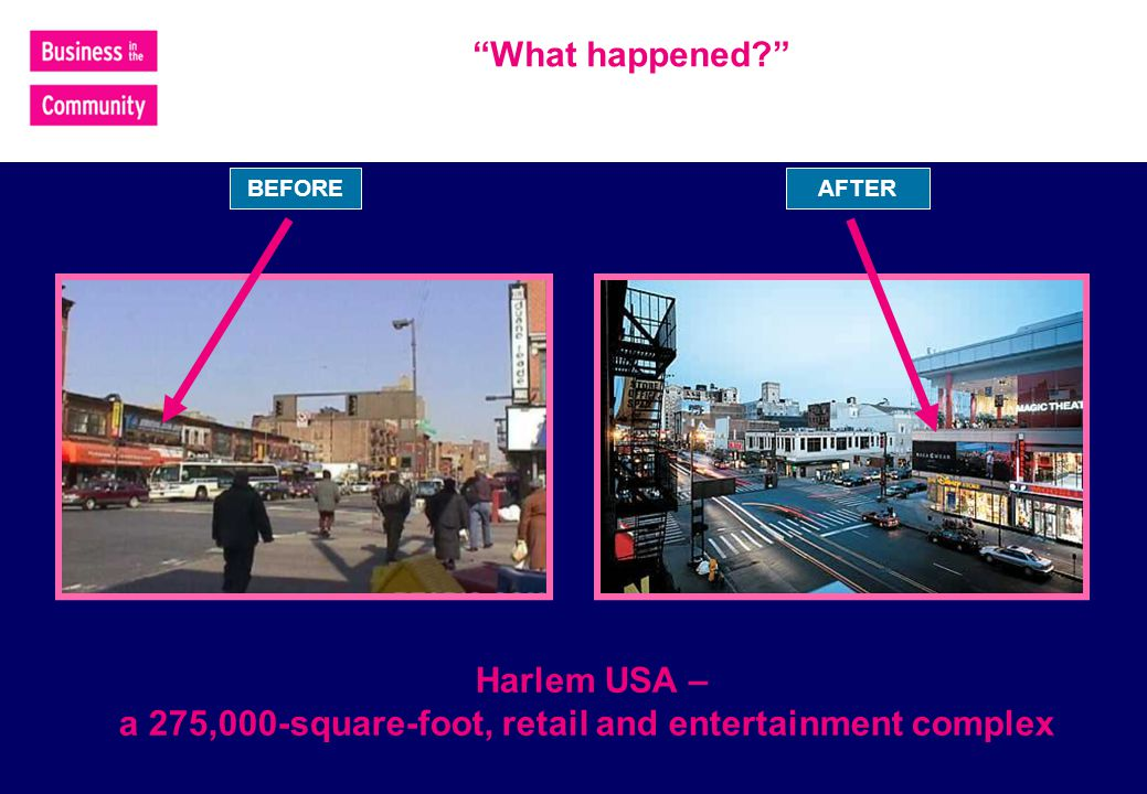 BEFORE What happened Harlem USA – a 275,000-square-foot, retail and entertainment complex AFTER