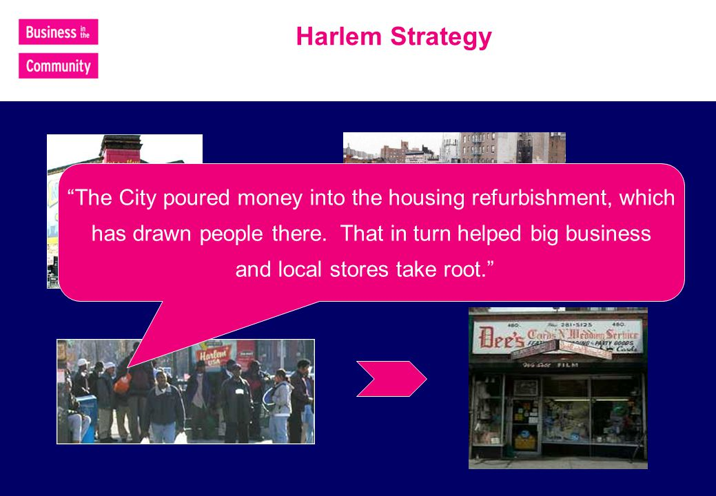 Harlem Strategy The City poured money into the housing refurbishment, which has drawn people there.