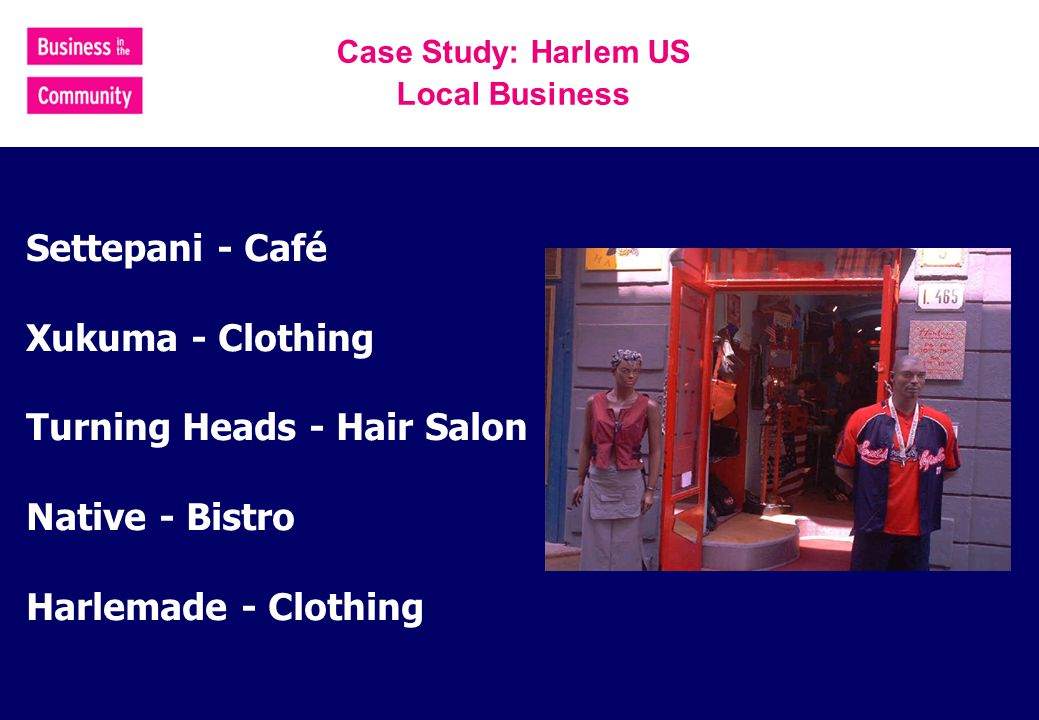 Settepani - Café Xukuma - Clothing Turning Heads - Hair Salon Native - Bistro Harlemade - Clothing Case Study: Harlem US Local Business