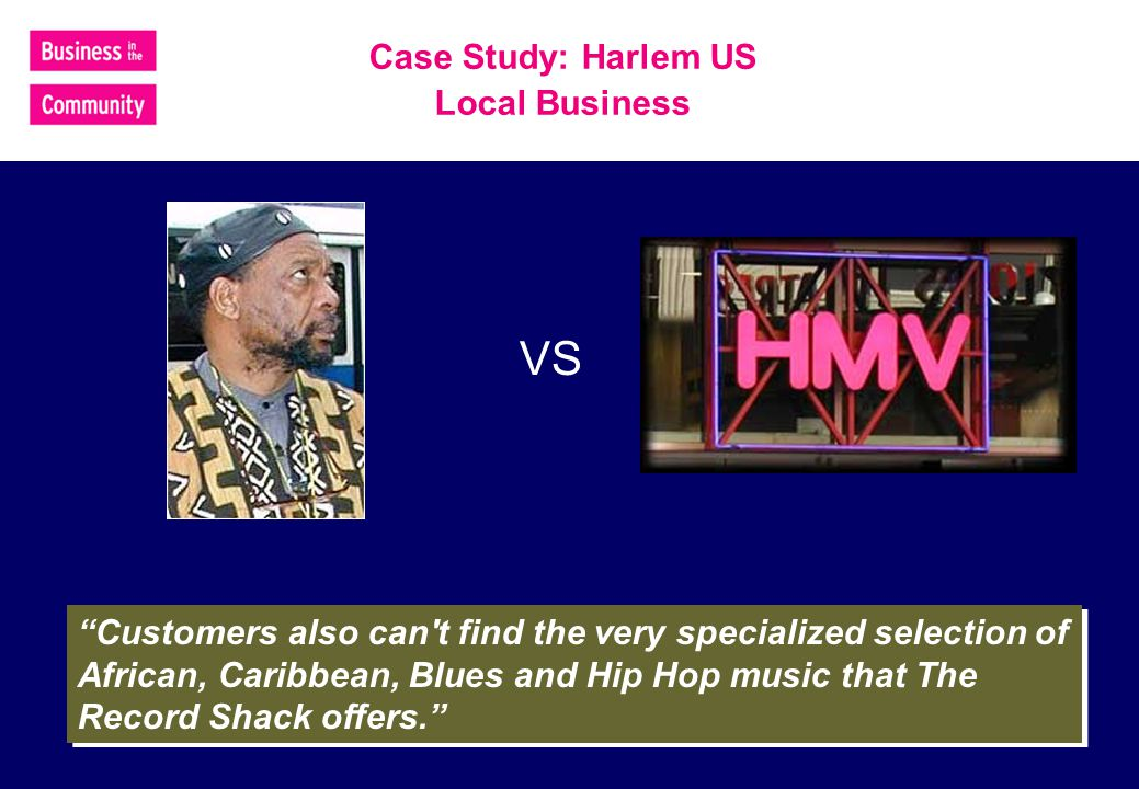 VS Customers also can t find the very specialized selection of African, Caribbean, Blues and Hip Hop music that The Record Shack offers.