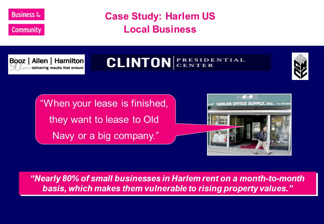 Nearly 80% of small businesses in Harlem rent on a month-to-month basis, which makes them vulnerable to rising property values.