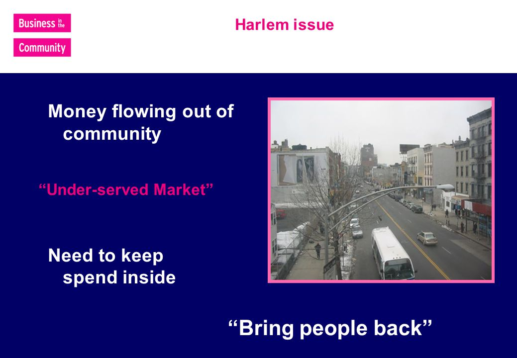Harlem issue Money flowing out of community Need to keep spend inside Under-served Market Bring people back