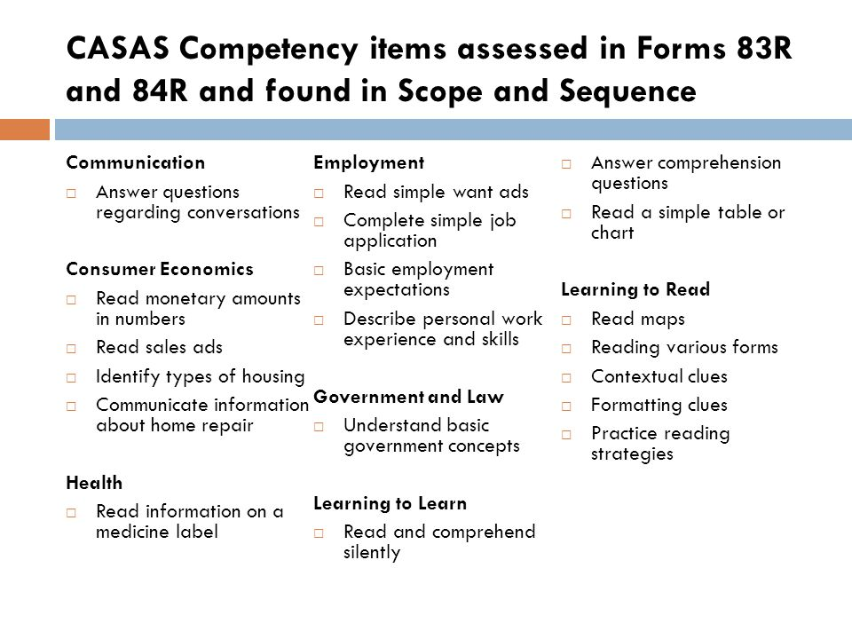CASAS Competency items assessed in Forms 83R and 84R and found in Scope and Sequence Communication Answer questions regarding conversations Consumer E