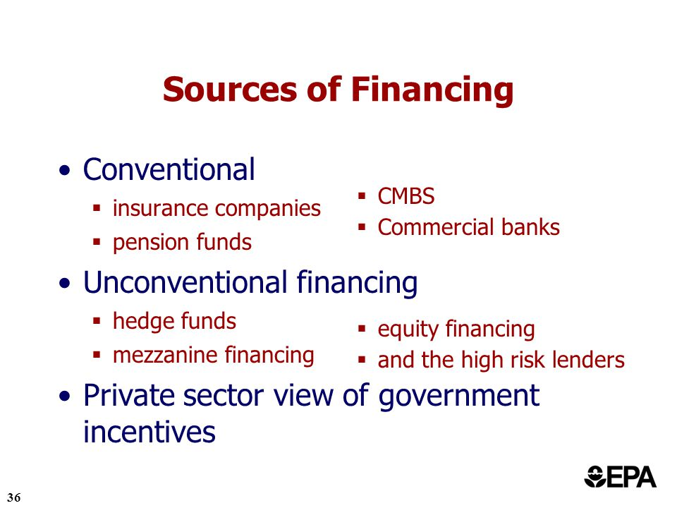 36 Conventional insurance companies pension funds Unconventional financing hedge funds mezzanine financing Private sector view of government incentives Sources of Financing CMBS Commercial banks equity financing and the high risk lenders