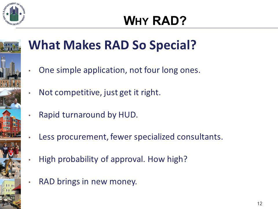 12 What Makes RAD So Special. One simple application, not four long ones.