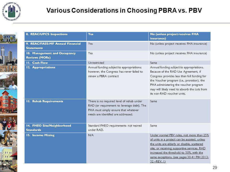 Various Considerations in Choosing PBRA vs. PBV 29 8. REAC/UPCS InspectionsYes No (unless project receives FHA insurance) 9. REAC/FASS-MF Annual Finan