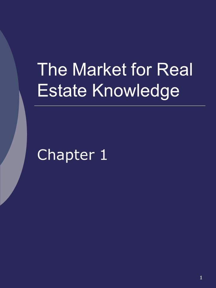 1 The Market for Real Estate Knowledge Chapter 1