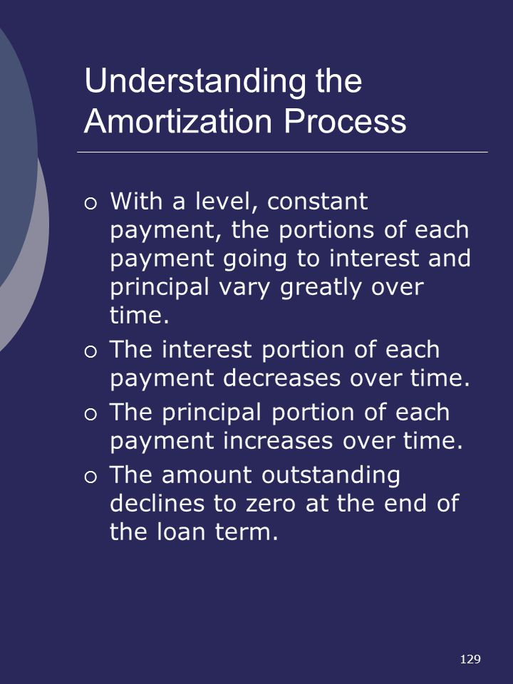 129 Understanding the Amortization Process With a level, constant payment, the portions of each payment going to interest and principal vary greatly o