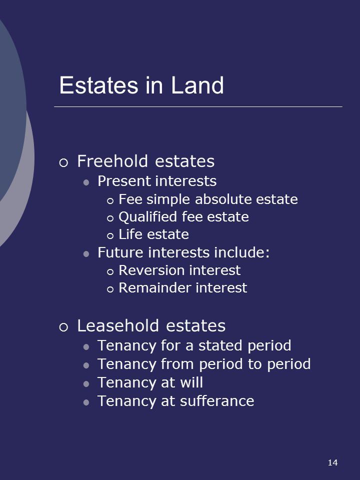 14 Estates in Land Freehold estates Present interests Fee simple absolute estate Qualified fee estate Life estate Future interests include: Reversion