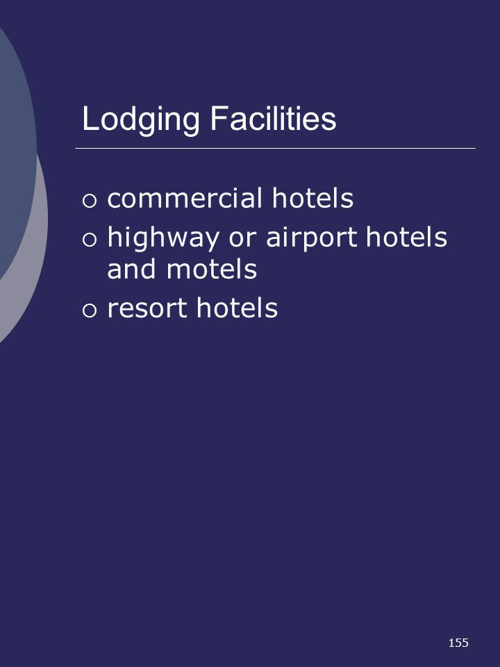 155 Lodging Facilities commercial hotels highway or airport hotels and motels resort hotels