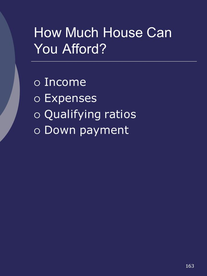163 How Much House Can You Afford? Income Expenses Qualifying ratios Down payment