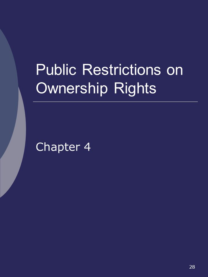 28 Public Restrictions on Ownership Rights Chapter 4