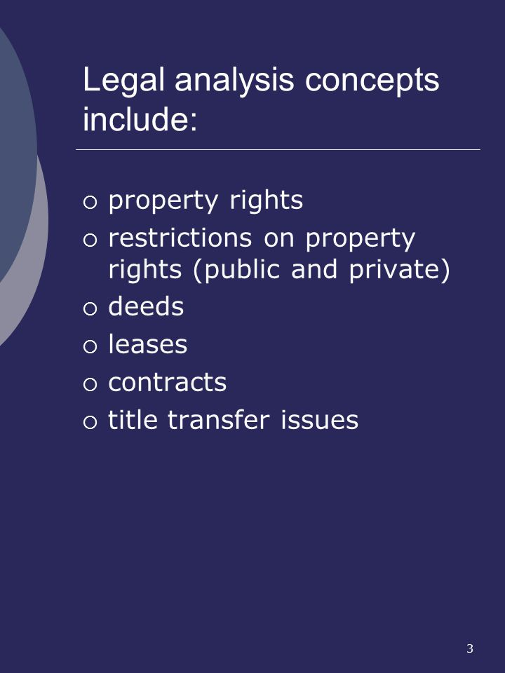 3 property rights restrictions on property rights (public and private) deeds leases contracts title transfer issues Legal analysis concepts include: