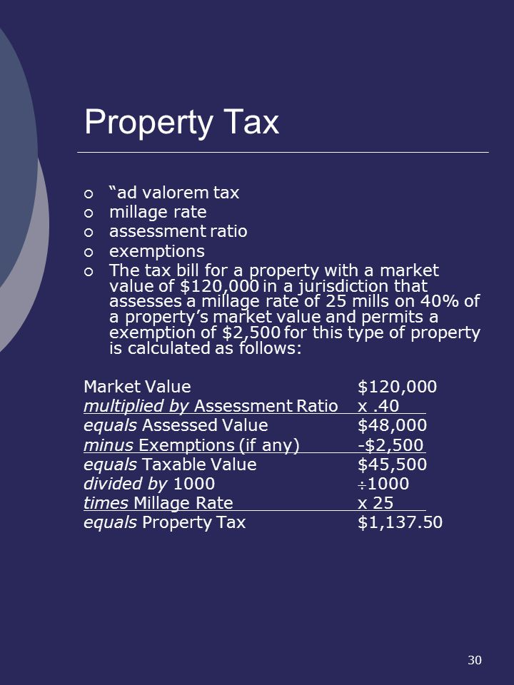 30 Property Tax ad valorem tax millage rate assessment ratio exemptions The tax bill for a property with a market value of $120,000 in a jurisdiction