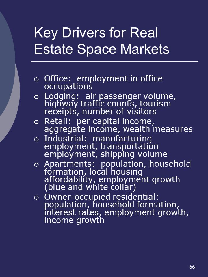 66 Key Drivers for Real Estate Space Markets Office: employment in office occupations Lodging: air passenger volume, highway traffic counts, tourism r