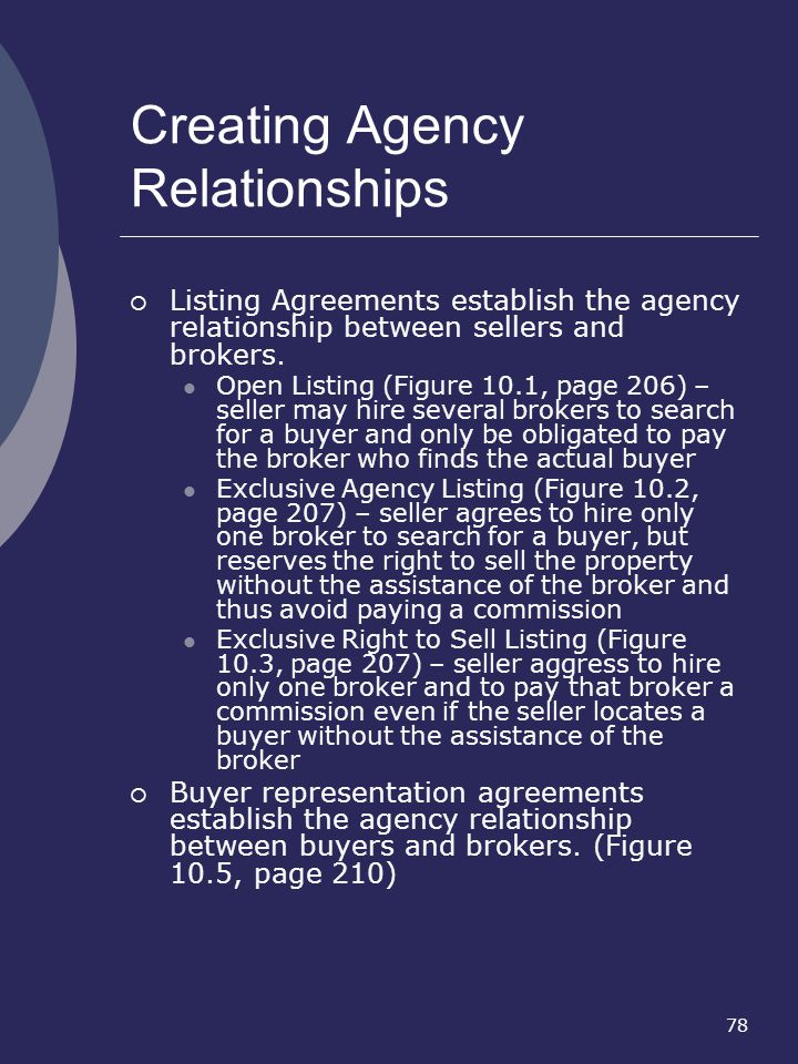 78 Creating Agency Relationships Listing Agreements establish the agency relationship between sellers and brokers. Open Listing (Figure 10.1, page 206