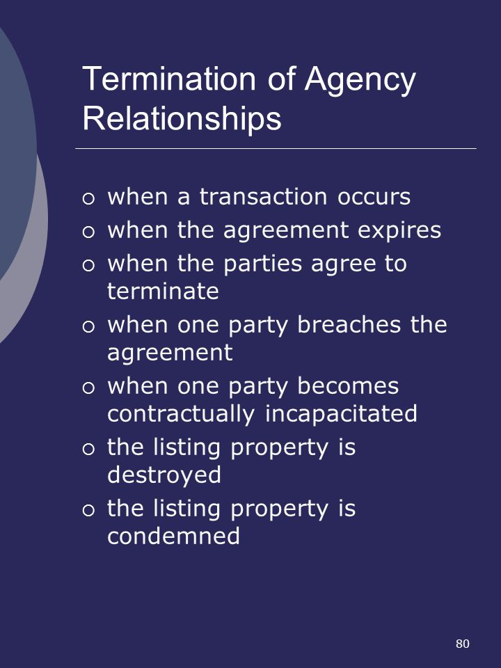 80 Termination of Agency Relationships when a transaction occurs when the agreement expires when the parties agree to terminate when one party breache