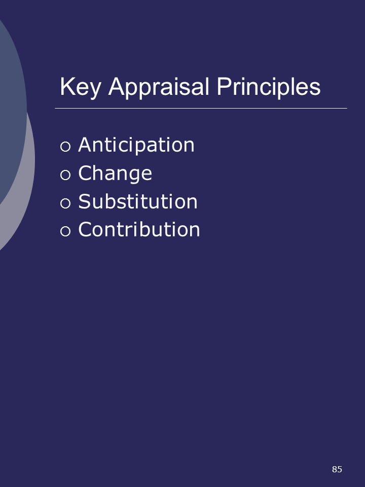 85 Key Appraisal Principles Anticipation Change Substitution Contribution