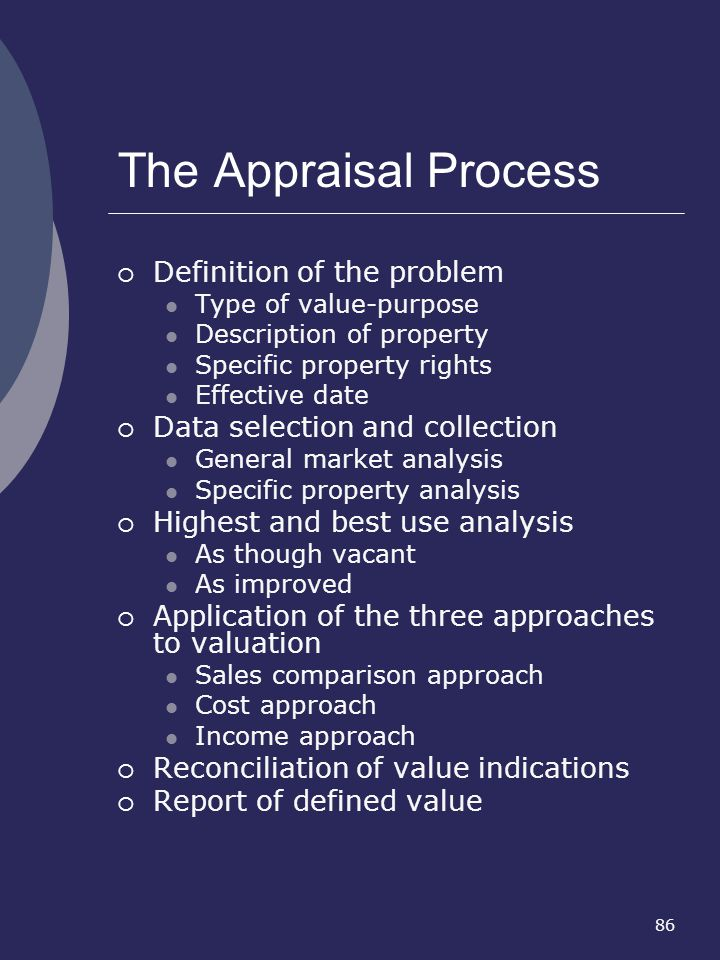 86 The Appraisal Process Definition of the problem Type of value-purpose Description of property Specific property rights Effective date Data selectio