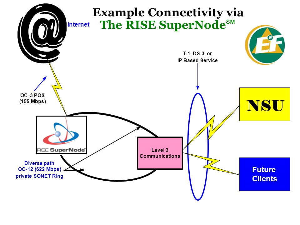 Example Connectivity via The RISE SuperNode SM Diverse path OC-12(622Mbps) private SONET Ring OC-3POS (155Mbps) NSU Internet Level 3 Communications IP