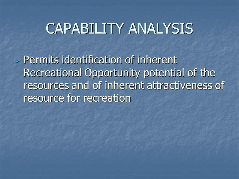 CAPABILITY ANALYSIS Permits identification of inherent Recreational Opportunity potential of the resources and of inherent attractiveness of resource