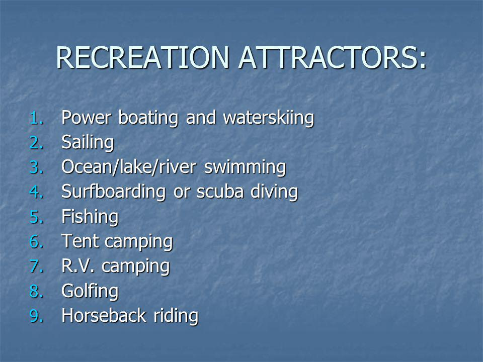 RECREATION ATTRACTORS: 1. Power boating and waterskiing 2. Sailing 3. Ocean/lake/river swimming 4. Surfboarding or scuba diving 5. Fishing 6. Tent cam