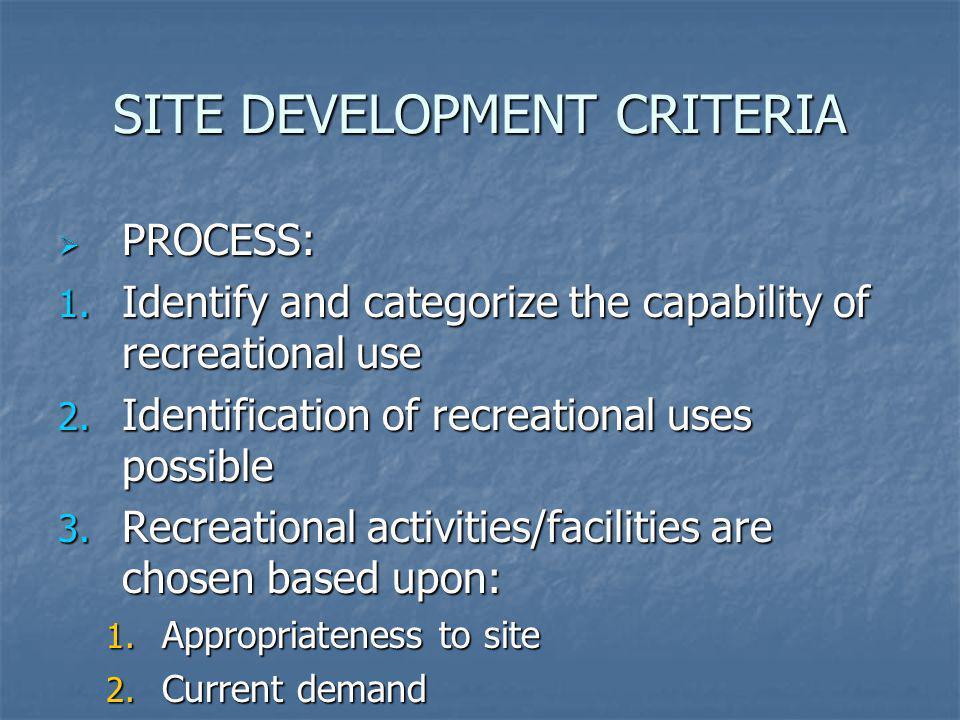 SITE DEVELOPMENT CRITERIA PROCESS: PROCESS: 1. Identify and categorize the capability of recreational use 2. Identification of recreational uses possi