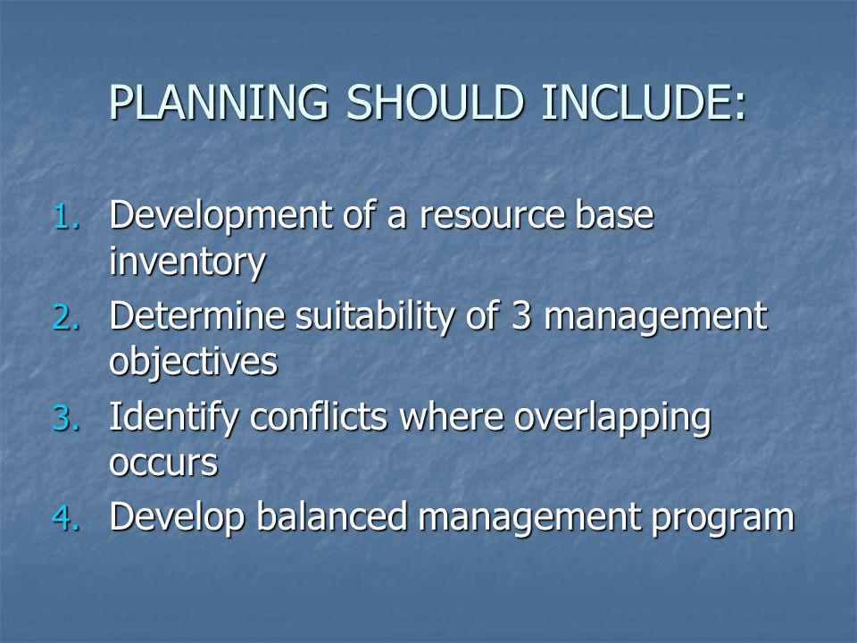 PLANNING SHOULD INCLUDE: 1. Development of a resource base inventory 2. Determine suitability of 3 management objectives 3. Identify conflicts where o