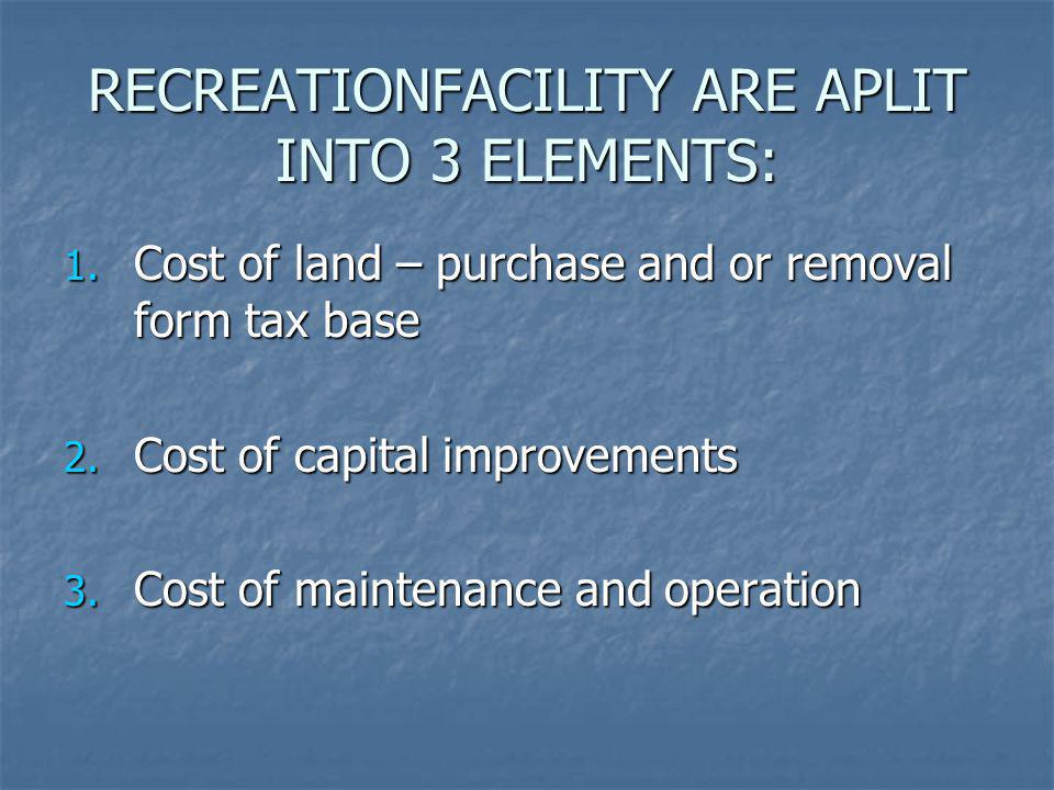 RECREATIONFACILITY ARE APLIT INTO 3 ELEMENTS: 1. Cost of land – purchase and or removal form tax base 2. Cost of capital improvements 3. Cost of maint