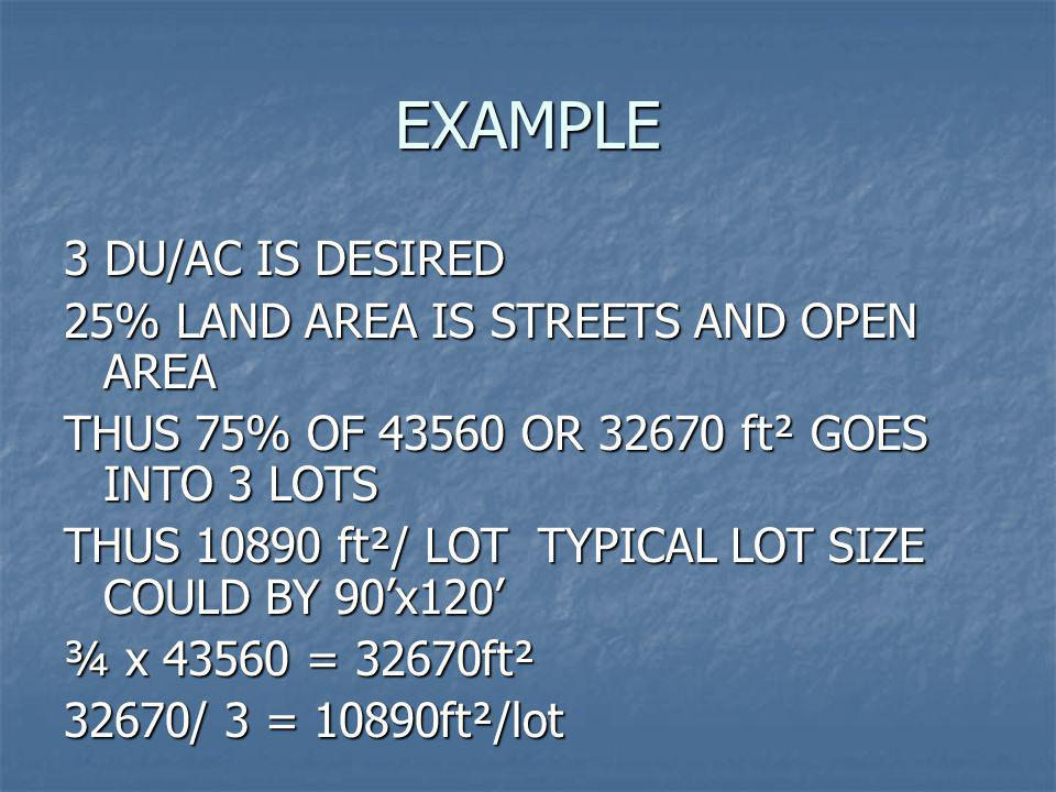 EXAMPLE 3 DU/AC IS DESIRED 25% LAND AREA IS STREETS AND OPEN AREA THUS 75% OF 43560 OR 32670 ft² GOES INTO 3 LOTS THUS 10890 ft²/ LOT TYPICAL LOT SIZE