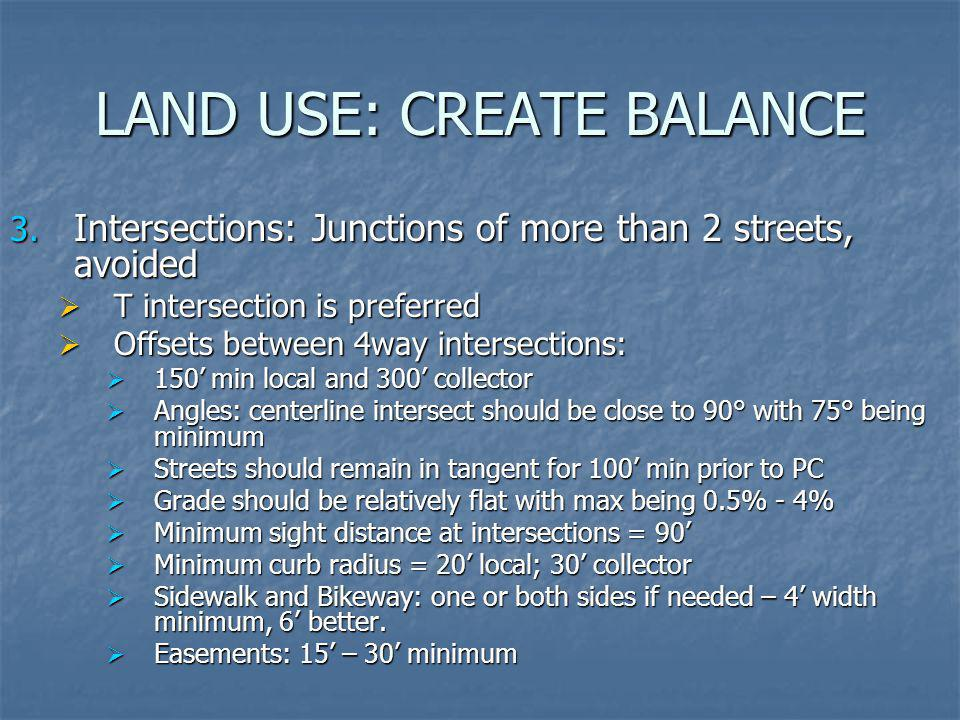 LAND USE: CREATE BALANCE 3. Intersections: Junctions of more than 2 streets, avoided T intersection is preferred T intersection is preferred Offsets b