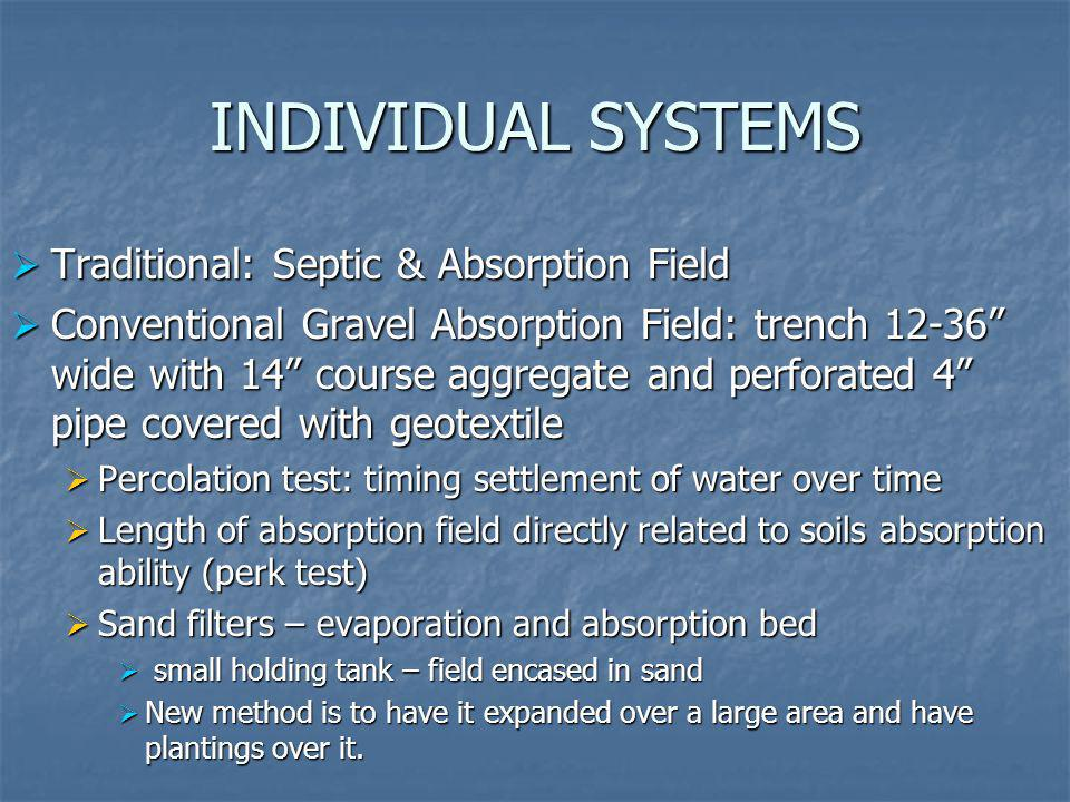 INDIVIDUAL SYSTEMS Traditional: Septic & Absorption Field Traditional: Septic & Absorption Field Conventional Gravel Absorption Field: trench 12-36 wi