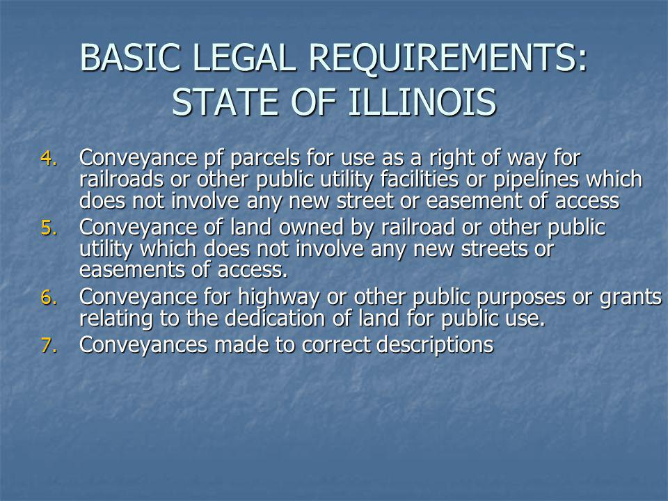BASIC LEGAL REQUIREMENTS: STATE OF ILLINOIS 4. Conveyance pf parcels for use as a right of way for railroads or other public utility facilities or pip