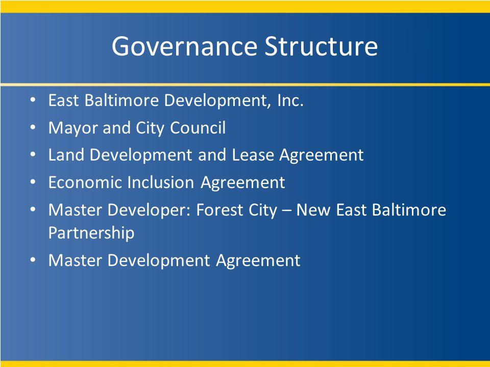 Governance Structure East Baltimore Development, Inc.