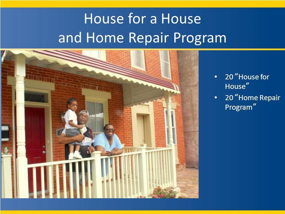 20 House for House 20 Home Repair Program House for a House and Home Repair Program