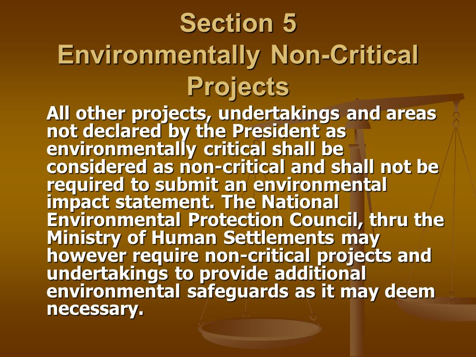 Section 5 Environmentally Non-Critical Projects All other projects, undertakings and areas not declared by the President as environmentally critical s