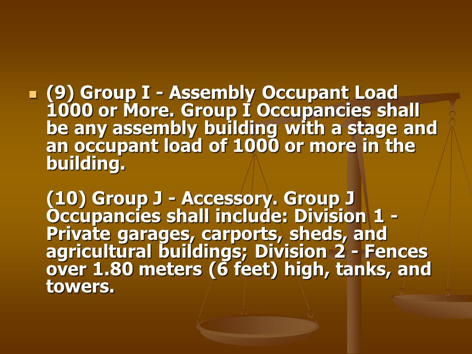 (9) Group I - Assembly Occupant Load 1000 or More. Group I Occupancies shall be any assembly building with a stage and an occupant load of 1000 or mor