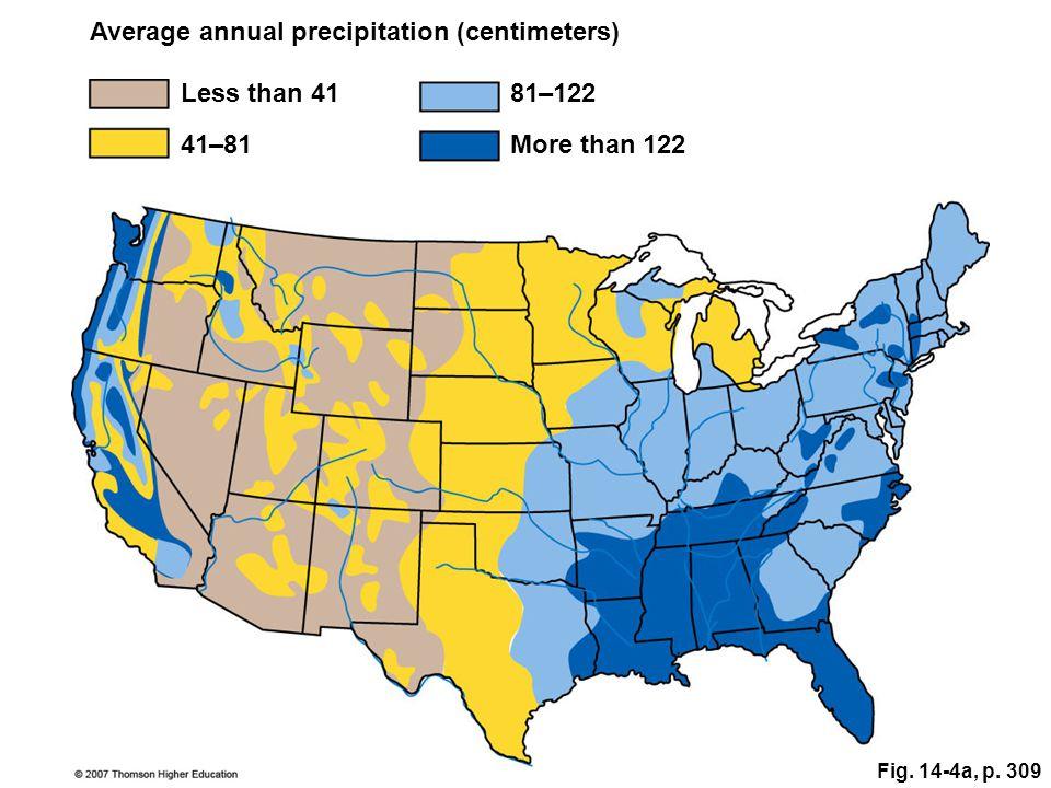 Fig. 14-4a, p. 309 Average annual precipitation (centimeters) More than 122 Less than 4181–122 41–81
