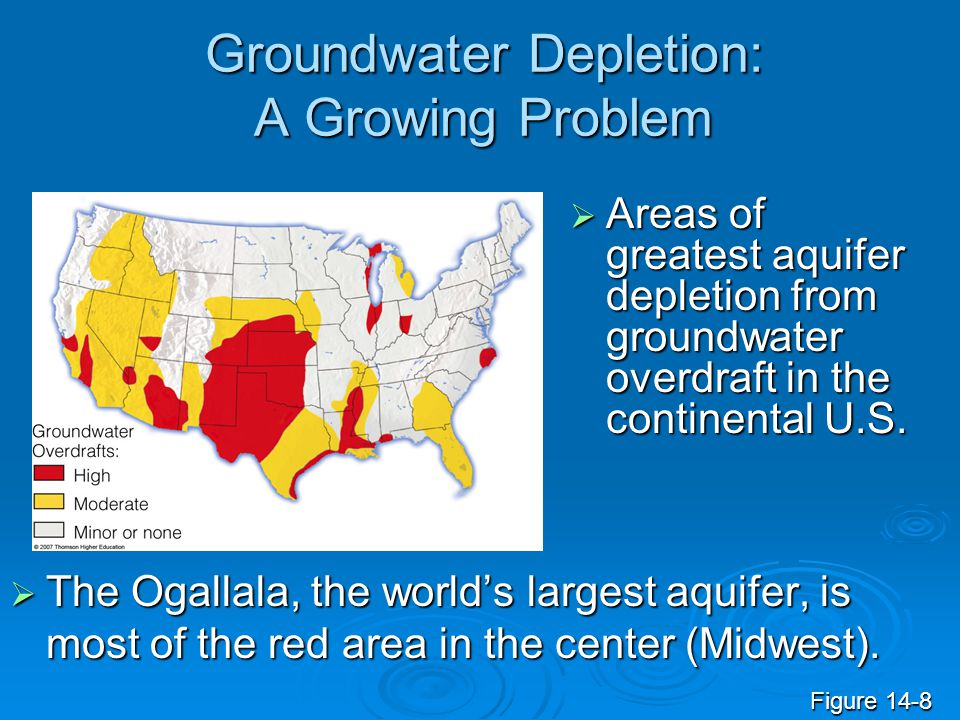 Groundwater Depletion: A Growing Problem The Ogallala, the worlds largest aquifer, is most of the red area in the center (Midwest). The Ogallala, the