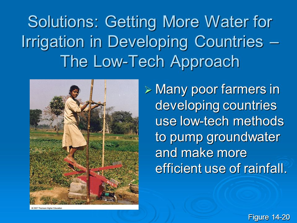 Solutions: Getting More Water for Irrigation in Developing Countries – The Low-Tech Approach Many poor farmers in developing countries use low-tech me
