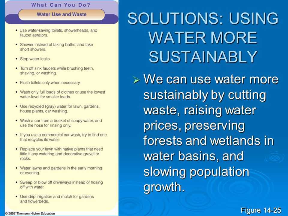 SOLUTIONS: USING WATER MORE SUSTAINABLY We can use water more sustainably by cutting waste, raising water prices, preserving forests and wetlands in w