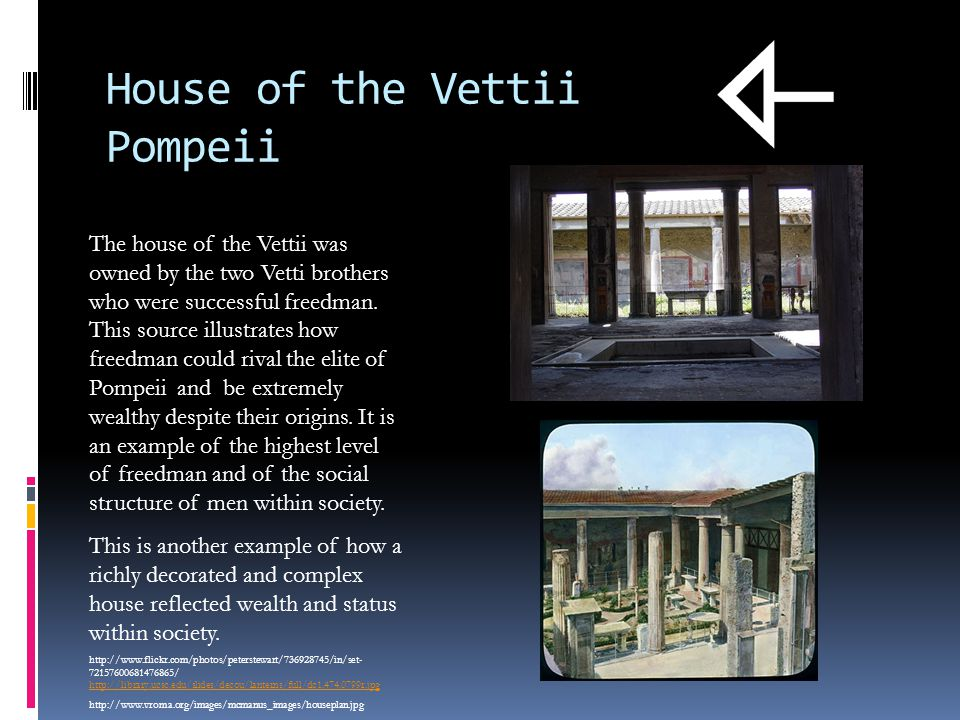 House of the Vettii Pompeii The house of the Vettii was owned by the two Vetti brothers who were successful freedman.